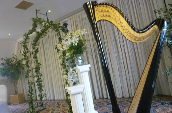 Harpist at East Riddleston Hall by Karen Ross, Ilkley